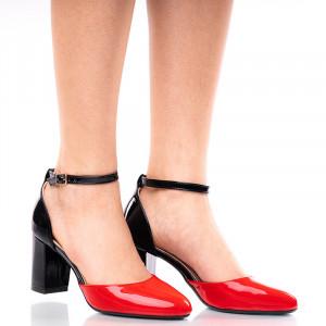 Pantofi dama decupati cu toc mediu gros alb cu rosu Giulia