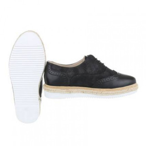 Pantofi dama, Negru cu siret Alma