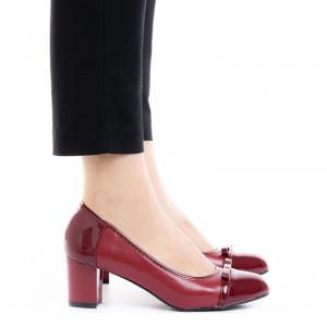 Pantofi dama office cu toc mic Daria bordo