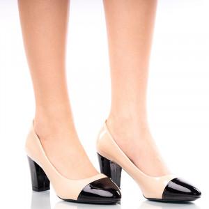 Pantofi dama office din lac cu toc gros bej cu negru Rosalia