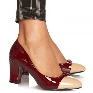Pantofi office cu toc mediu gros in doua culori Argentina bordo
