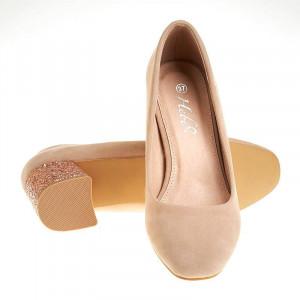 Pantofi office din velur cu toc glitter Alberta bej