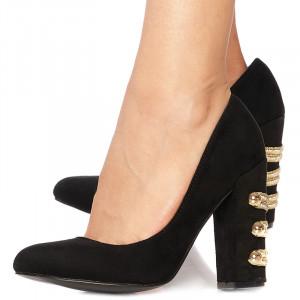 Pantofi stiletto cu toc gros din velur Giuseppina negru