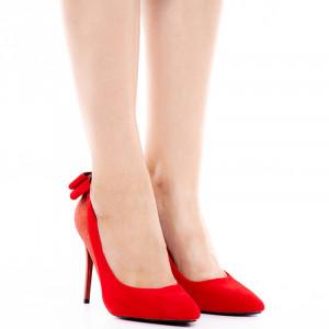 Pantofi stiletto cu toc inalt din velur cu material deosebit lucios Adeline rosu