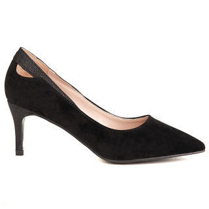 Pantofi stiletto cu toc mediu din velur Amalia negru