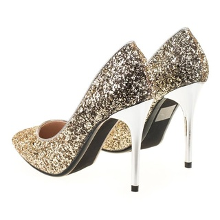 Pantofi stiletto din glitter Martina gold