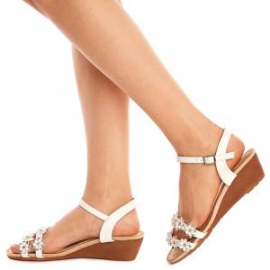 Sandale cu Talpa Joasa Albe - Andra