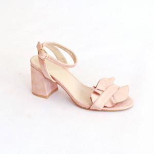 Sandale cu toc din velur chic Amalia bej