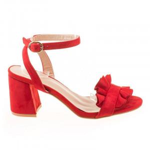 Sandale cu toc din velur chic Amalia rosu