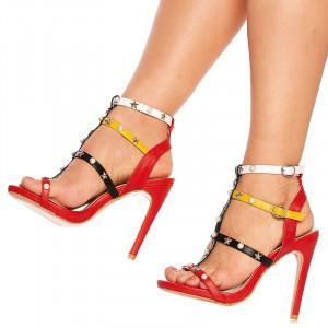 Sandale cu toc elegante Adelie rosu