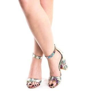 Sandale cu toc gros Ayumi alb