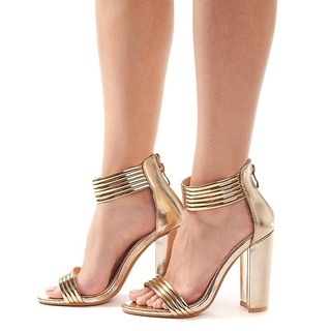 Sandale cu toc gros elegante Amalia auriu