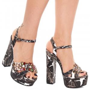 Sandale cu toc gros si platforma Maria