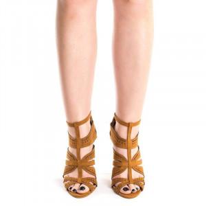 Sandale cu toc si barete Antonia bej inchis