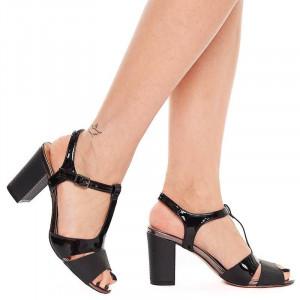 Sandale dama cu toc gros Mia negru
