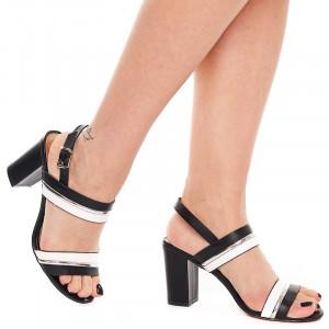 Sandale dama cu toc gros Samantha alb cu negru