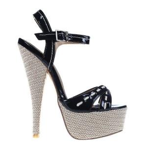 Sandale toc Beatrice negre