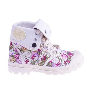 Sneakers Flower Power beige cu siret