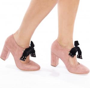 Pantofi cu toc gros din velur Alberta roz