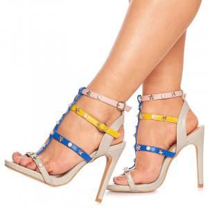 Sandale cu toc elegante Adelie gri