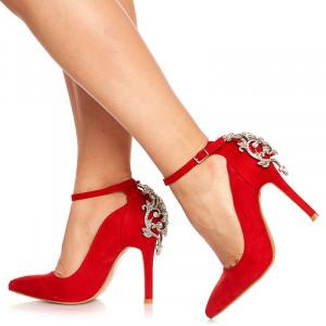 Pantofi stiletto cu toc inalt din velur Adelle rosu