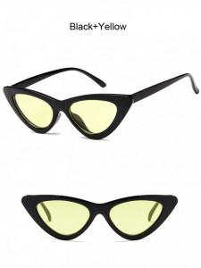 Ochelari de soare retro ochi de pisica Giuliana negru cu lentila galbena