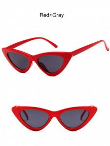 Ochelari de soare retro ochi de pisica Giuliana rosu cu lentila gri