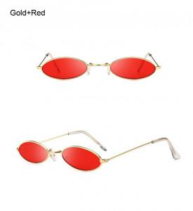 Ochelari de soare retro oval Giulietta auriu cu lentila rosie