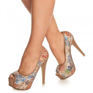 Pantofi cu platforma si toc inalt Amarella alb