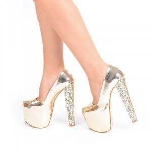 Pantofi cu platfroma gold Angelina