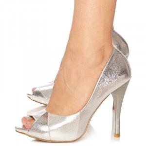 Pantofi cu toc inalt peep toe Lisa argintiu