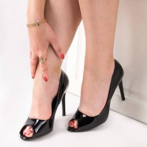 Pantofi cu toc peep toe Anita blk
