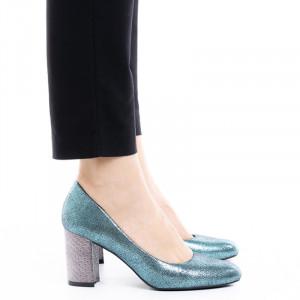 Pantofi dama cu toc mediu din material deosebit Catarina albastru