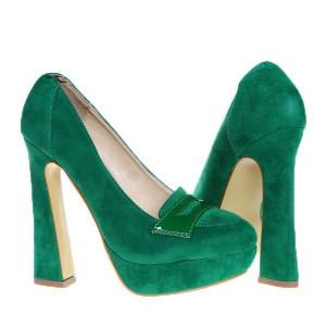 Pantofi platforma Dominique verzi