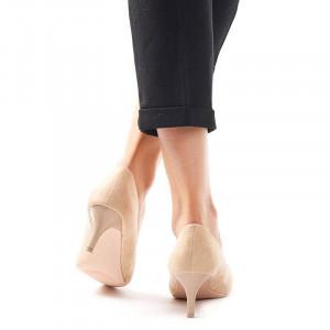 Pantofi stileto cu toc mic din velur Clara bej