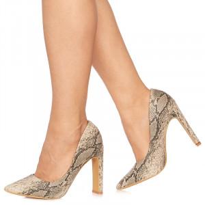 Pantofi stiletto cu toc gros snake Malena bej