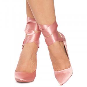 Pantofi stiletto cu toc inalt din satin Marietta