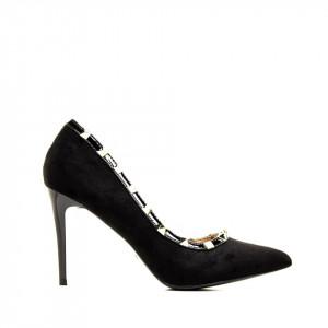 Pantofi stiletto cu toc inalt din velur Maria negru