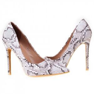 Pantofi stiletto cu toc inalt snake Antonia bej