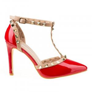 Pantofi stiletto decupati la moda Rosso