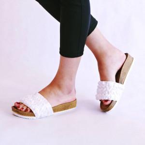 Papuci chic Diane alb