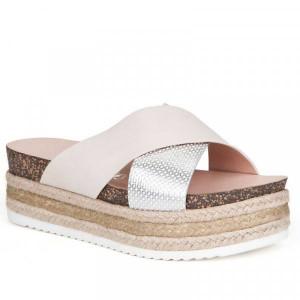 Papuci dama, cu platforma, Alb