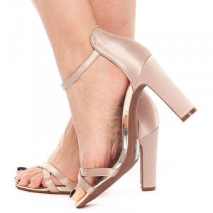 Sandale cu toc elegante din satin Amalia