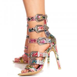 Sandale cu toc si curele Antonia