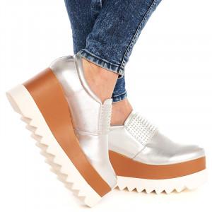 Sneakers cu platforma si talpa inalta Theresa argintiu