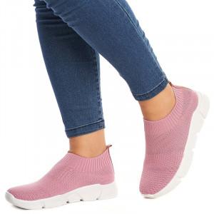 Sneakers din material elastic Sandra roz