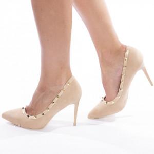 Pantofi stiletto cu toc inalt din velur Maria