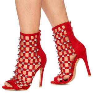 Sandale cu toc Francisca rosu