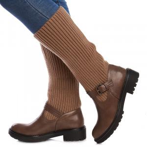 Cizme casual cu material textil elastic Mia kaki