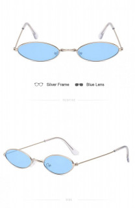 Ochelari de soare retro vintage Antonia auriu cu blu